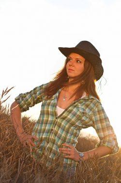Cowboy Girl Pretty Nature Skirt Hat Field Shirt